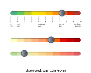 Pain scale slider bar. Assessment medical tool. Line horizontal chart indicates pain stages and evaluate suffering. Vector illustration clipart
