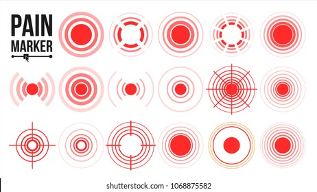 Pain Symbol Set Vector. Round Medical Design Element. Isolated Illustration