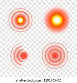 Pain symbols. Red circles of pain. Vector illustration