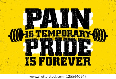 Pain Temporary Pride Forever Gym Motivation Stock Vector Royalty