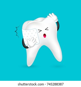 Pain tooth with bandage. Toothache cartoon character design. Dental care concept, illustration isolated on blue background.