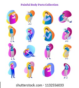 Painful body parts medical problem vector illustration collection with bones,joints and inner organs ache.Modern gradient style shapes,stylized male and female patient postures with illness symptoms.