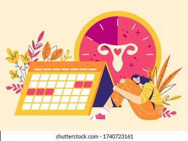 Painful menstruation concept. Women check menstrual days, clock with female genital organs silhouette. Modern flat style illustration
