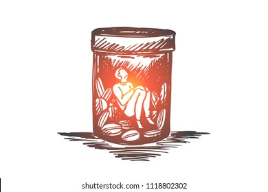 Painkiller, addiction, drugs, disease concept. Hand drawn man sitting inside of buttle with drugs or pills concept sketch. Isolated vector illustration.