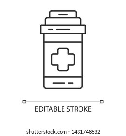 Painkiller linear icon. Game cure. Medical aid for player. Game extra life. Medications, pills, disease treatment. Thin line illustration. Contour vector isolated outline drawing. Editable stroke