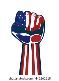 Paint American national flag on a fist and arm. This illustration is concept about independence and vote and revolution and sports fan of American.