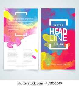 paint background color watercolor brochure poster art design blue vector vector design elements template for business brochure leaflet poster or flyer on colorful watercolor background useful for any