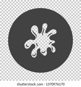 Paint blot icon. Subtract stencil design on tranparency grid. Vector illustration.