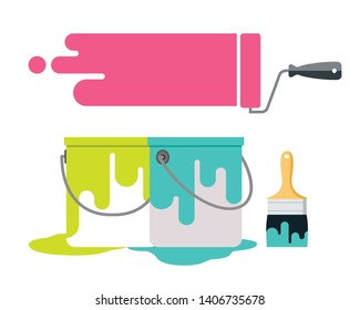 Paint brush and paint bucket vector design isolated on white background, illustration