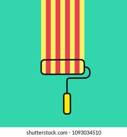 paint brush with catalan flag, flat design