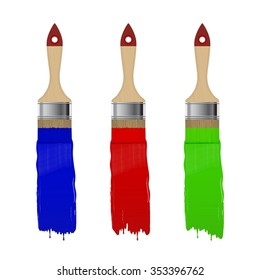 Paint brush with color paint stroke set isolated on a white background. Vector illustration.