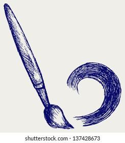Paint brush. Doodle style