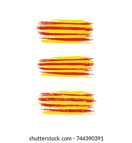 Paint brush flag of Catalonia vector illustration. Referendum Catalonia flag. Independence of Catalonia.