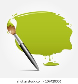 Paint brush. green space your text, vector illustration
