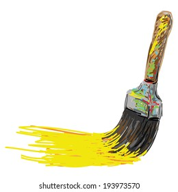 Paint brush. Hand writing cartoon