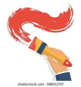 Paint brush hold in hand human. Template design painting service. Renovation, recover concept. Vector illustration. Flat style. Isolated on white background. Red brushstroke. Tools of the artist.