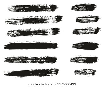 Paint Brush Lines High Detail Abstract Vector Background Set 15