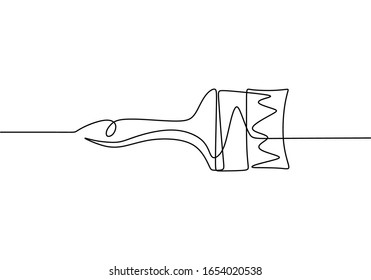Paint brush one line drawing, vector illustration minimalism.
