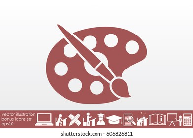 Paint brush with palette icon vector illustration