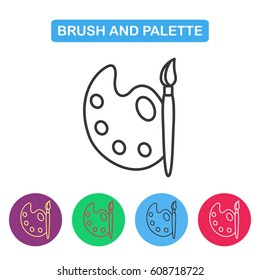 Paint brush with palette icon vector. Simple thin line icon for websites, web design, mobile app, infographics.
