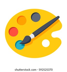Paint brush with palette vector icon in flat style