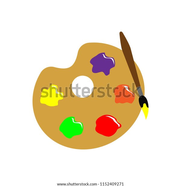 Paint brush with palette vector icon
