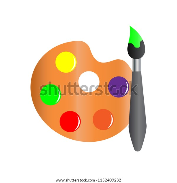 Paint brush with palette vector illustration