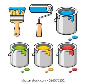 Paint brush, roller and bucket cans. Icons set isolated.