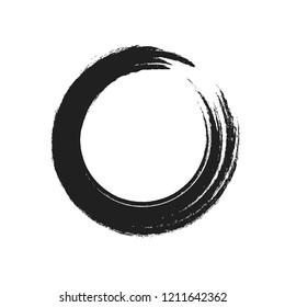 Paint Brush Zen Symbolic Black Circle Isolated on White. Hand Drawn Grunge Enso. Cool Idea for Logos, Emblems Design. Chinese Meditative Vector Element. Stroke Logo Circle