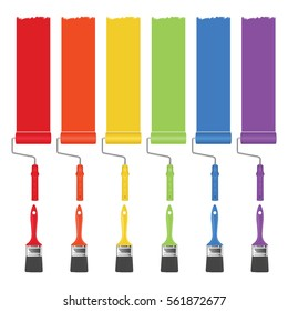 Paint brushes and rollers with a strip of paint of different colors. Vector illustration.