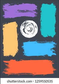 Paint brushstrokes for template of poster. Abstract background created using brush strokes of different colors.
