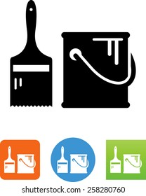 Paint can and brush icon