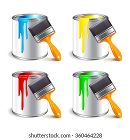 Paint can and brush isolated on white photo-realistic vector illustration