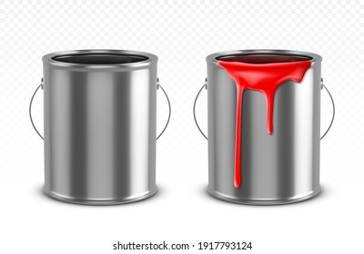 Paint can, tin bucket with red dripping drops, empty and filled metal pots, silver colored containers with dye for renovation works isolated on transparent background, Realistic 3d vector illustration