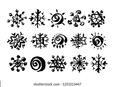 Paint drawing set of black snowflakes on white background. Hand drawn abstract illustration grunge elements. Vector abstract objects for design use