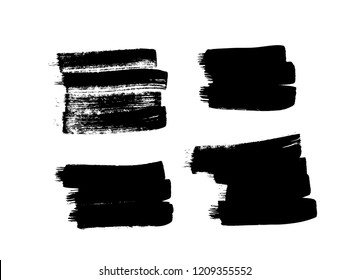 Paint drawing set of black squares on white background. Hand drawn abstract illustration grunge elements. Vector abstract objects for design use