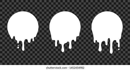 Paint drip stickers, circle white melt drop vector icons. Vector milk circle melt drops, graffiti paint drip blobs