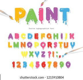 Paint flow colorful font. Cute funny cartoon letters and numbers.