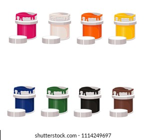 paint, gouache, jar, dye, vector