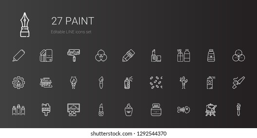 paint icons set. Collection of paint with fishbone, chinese ink, highlighter, lipstick, canvas, brush, nails, sprinkles, paint brush, graphic design. Editable and scalable icons.