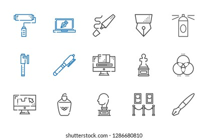 paint icons set. Collection of paint with fountain pen, painting, sculpture, highlighter, draw, rgb, graphic design, pen, hairspray, design. Editable and scalable paint icons.