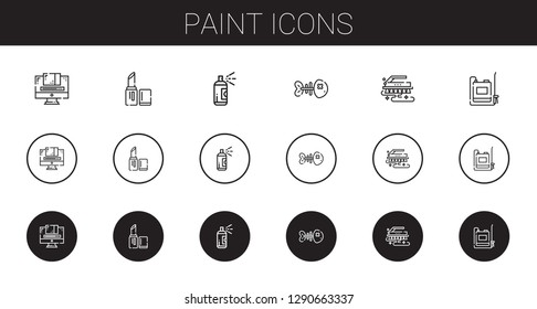 paint icons set. Collection of paint with graphic design, lipstick, fishbone, brush, sprayer. Editable and scalable paint icons.