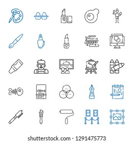 paint icons set. Collection of paint with graphic design, painting, paint roller, brush, pen, draw, rgb, fishbone, crayons, easel, canvas. Editable and scalable icons.