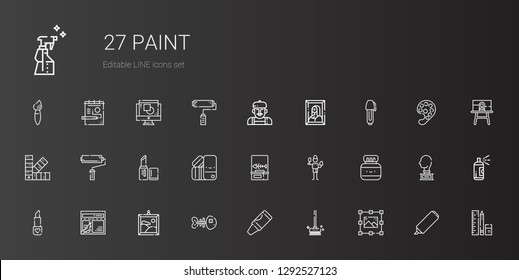paint icons set. Collection of paint with graphic design, brushes, crayon, fishbone, painting, layout, lipstick, chinese ink, brush, pantone. Editable and scalable paint icons.