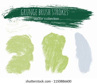 Paint lines grunge collection. Set of green grungy hand drawn brush strokes isolated on white. Abstract ink texture, design elements, borders or frames. Brush strokes set backgrounds.