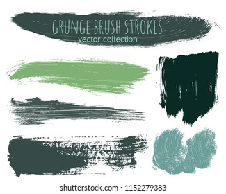 Paint lines grunge collection. Set of grass colored grungy hand drawn brush strokes isolated on white. Abstract ink texture, design elements, borders or frames. Brush strokes set backgrounds.