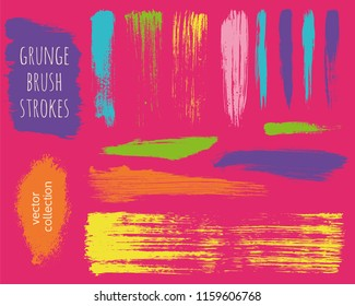Paint lines grunge collection. Set of colorful bright grungy hand drawn brush strokes on a pink backdrop. Abstract ink texture, design elements, borders or frames. Brush strokes set backgrounds.