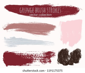 Paint lines grunge collection. Set of colorful grungy hand drawn brush strokes isolated on white. Abstract ink texture, design elements, borders or frames. Brush strokes set backgrounds.