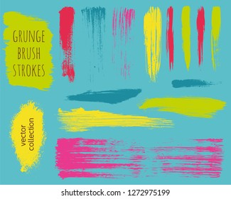 Paint lines grunge collection. Set of colorful bright grungy hand drawn brush strokes on a blue backdrop. Abstract ink texture, design elements, borders or frames. Brush strokes set backgrounds.