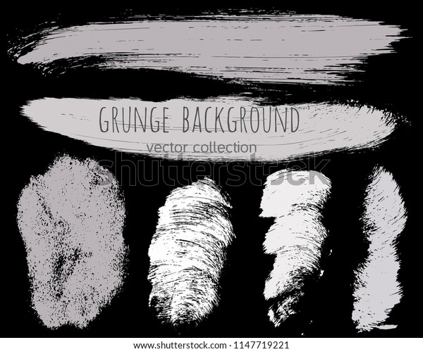 Paint lines grunge collection. Set of silver grungy hand drawn brush strokes isolated on black. Abstract ink texture, design elements, borders or frames. Brush strokes set backgrounds.